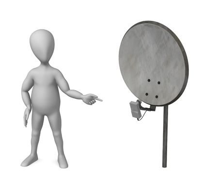 3d render of cartoon character with satelite photo