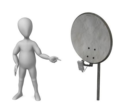 sattelite: 3d render of cartoon character with satelite