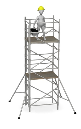 3d render of working cartoon character with scaffold photo