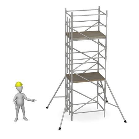 Rendu 3d de personnage de dessin animé de travailler avec échafaudage