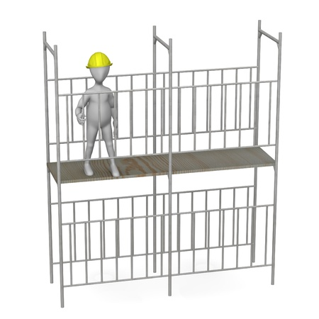 3d render of working cartoon character with scaffold Stock Photo - 12967466