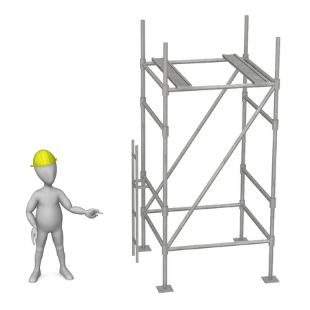falsework: 3d render of working cartoon character with scaffold