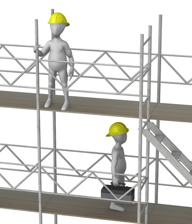 3d render of working cartoon character with scaffold