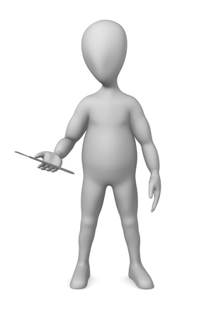 3d render of cartoon character with scalpel photo