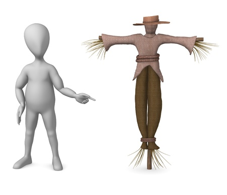 3d render of cartoon character with scarecrow photo