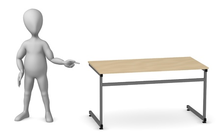 3d render of cartoon character with school table photo