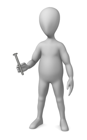winder: 3d render of cartoon character with screw Stock Photo