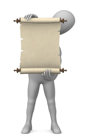 3d render of cartoon character with scroll photo