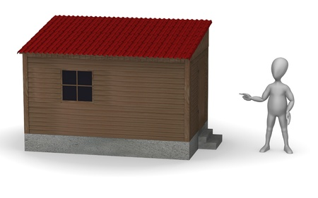 shack: 3d render of cartoon character with shack