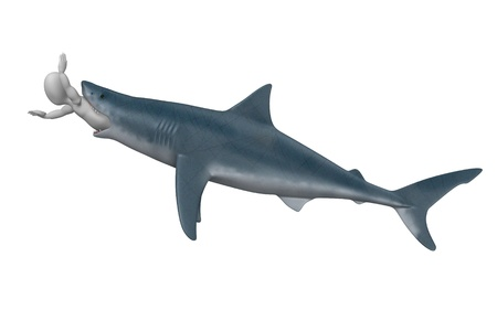 3d render of cartoon character with shark photo