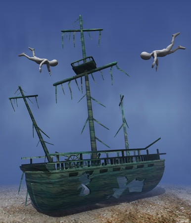 3d render of cartoon character with shipwreck Stock Photo - 12967427