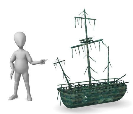3d render of cartoon character with shipwreck photo
