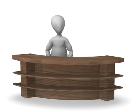 3d render of cartoon character with shop board