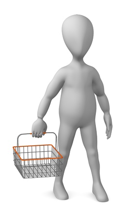 3d render of cartoon character with shopping basket photo
