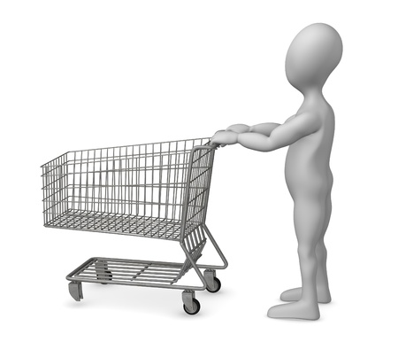 3d render of cartoon character with shopping cart photo