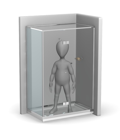 3d render of cartoon character with shower photo