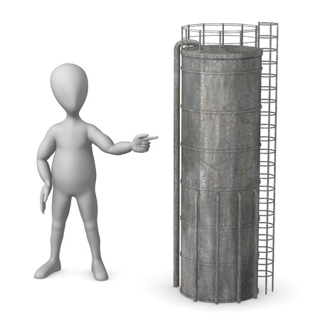 chemical plant: 3d render of cartoon character with silo