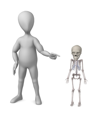 3d render of cartoon character with baby skeleton  photo