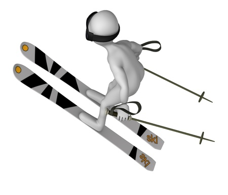 3d render of cartoon character with ski equipment photo