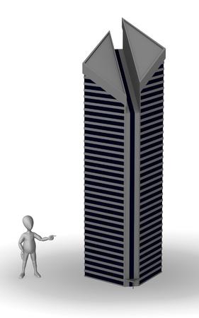 buliding: 3d render of cartoon character with skyscraper Stock Photo