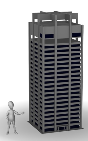 3d render of cartoon character with skyscraper photo