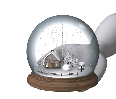 3d render of cartoon character with snow globe