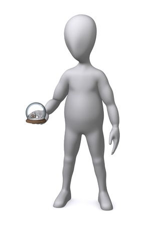 3d render of cartoon character with snow globe Stock Photo - 12970042