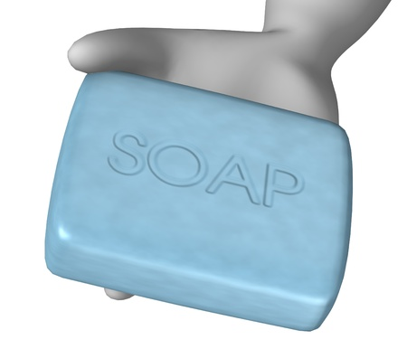 3d render of cartoon character with soap Stock Photo - 12968964
