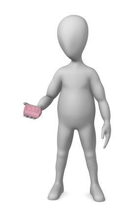 3d render of cartoon character with soap photo