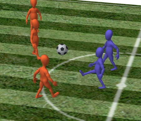 3d render of cartoon character playing soccer photo