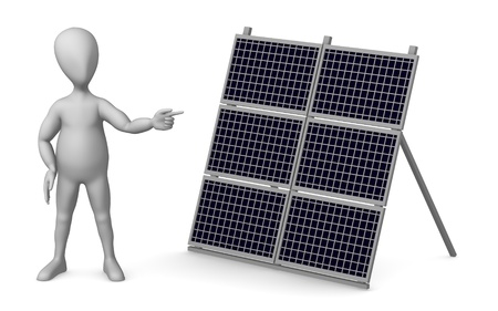 3d render of cartoon character with solar panel photo
