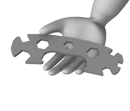 3d render of cartoon character with spanner photo