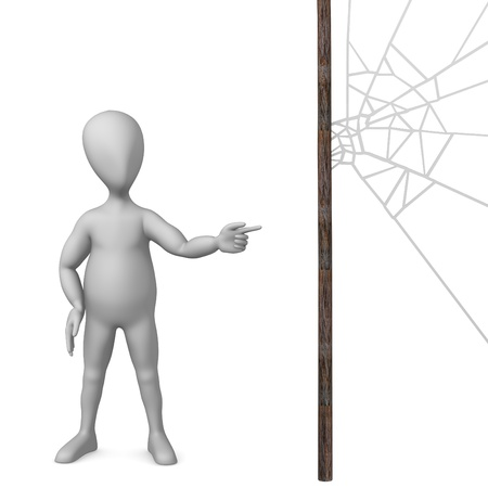 3d render of cartoon character with spiderweb photo