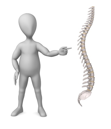 3d render of cartoon character with spine photo