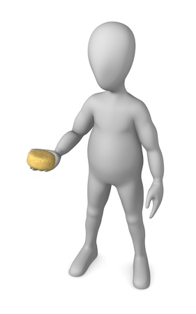 3d render of cartoon character with sponge photo
