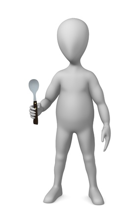 3d render of cartoon character with spoon photo