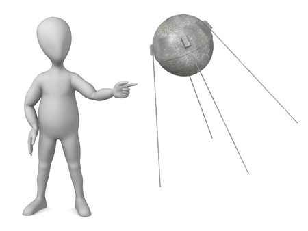 sputnik: 3d render of cartoon character with sputnik module