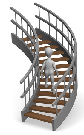 elevate: 3d render of cartoon character on stairs