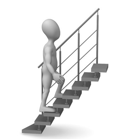 3d render of cartoon character on stairs photo