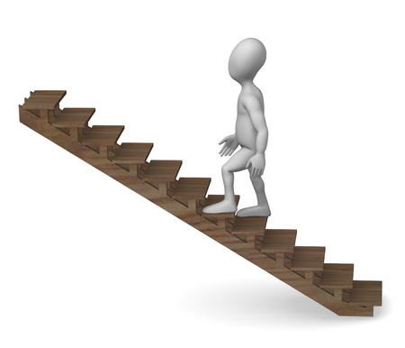 stockie: 3d render of cartoon character on stairs