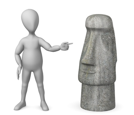rapa nui: 3d rinden de personaje de dibujos animados con la estatua Foto de archivo
