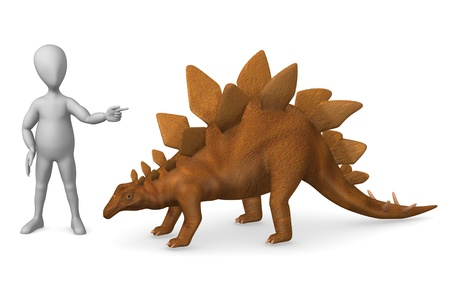stockie: 3d render of cartoon character with stegosaurus