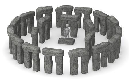 stonehenge: 3d render of cartoon character with stonehenge Stock Photo