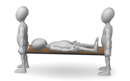 wounded: 3d render of cartoon character with stretcher