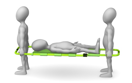stretcher: 3d render of cartoon character with stretcher
