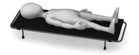 autopsy: 3d render of cartoon character with stretcher