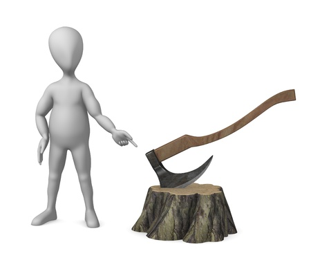 3d render of cartoon character with stump and axe  photo