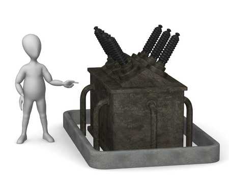 transformator: 3d render of cartoon character with substation part