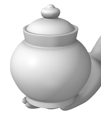 sugarbowl: 3d render of cartoon character with sugar basin Stock Photo