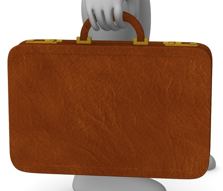 bussinesman: 3d render of cartoon character with suitacase